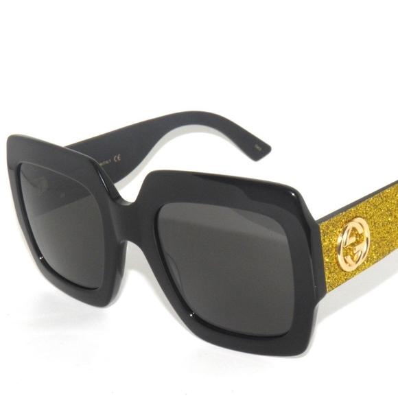 3bd11c50d1 GUCCI GG0102S BLACK- GOLD GLITTER  GREY SUNGLASSES